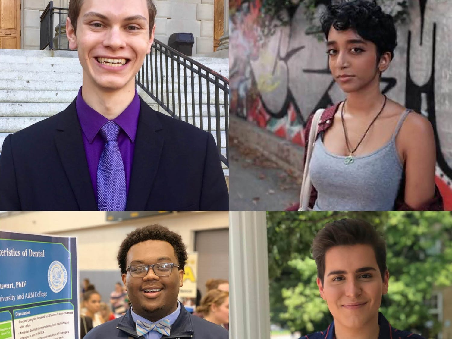 (Clockwise from top left) Daniel Bowen (senior), Veda Patil (senior), Collyn Smith (junior) and Lamar Richards (sophomore) speak up about UNC's sudden and drastic switch to remote classes just a week after reopening. Photos courtesy of Daniel Bowen, Veda Patil, Collyn Smith, and Lamar Richards.