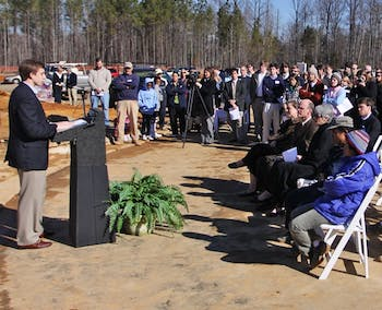 Davis Willingham speaks at the groundbreaking ceremony of the Courtland Smith. DTH/Margaret Cheatham Williams