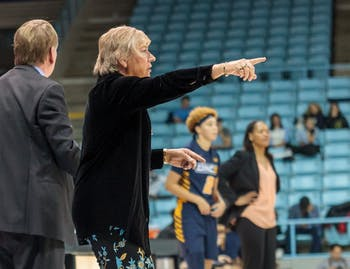 Coach Sylvia Hatchell shouts instructions to the UNC women's basketbal team during their home game vs. UNCG in Carmichael Arena on Friday, Dec. 14 2018.