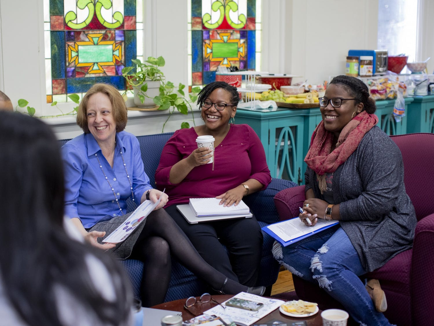 Maria Dykema Erb and Kathy Wood of the UNC Graduate School's Diversity and Student Success department host a Writing Wednesday work session on November 7, 2018 in Chapel Hill, NC. Photo courtesy of Jeyhoun Allebaugh/UNC-Chapel Hill