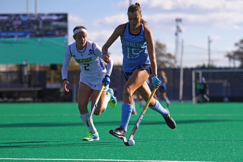 North Carolina field hockey's Malin Evert advances the ball against Delaware in the 2016 NCAA title game.