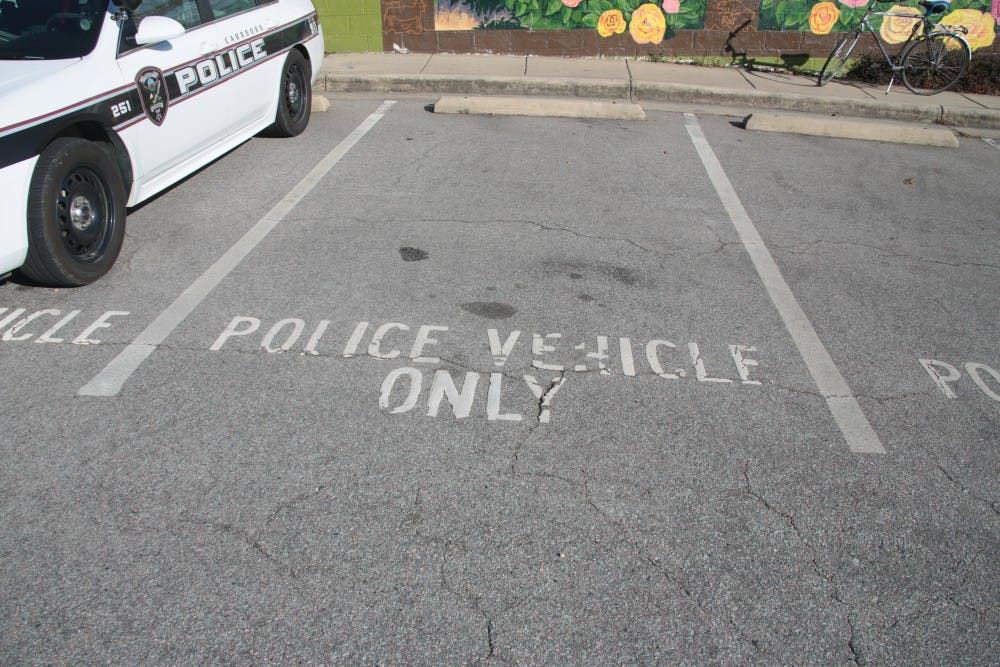 <p>A parking spot at the Carrboro Police Department.</p>