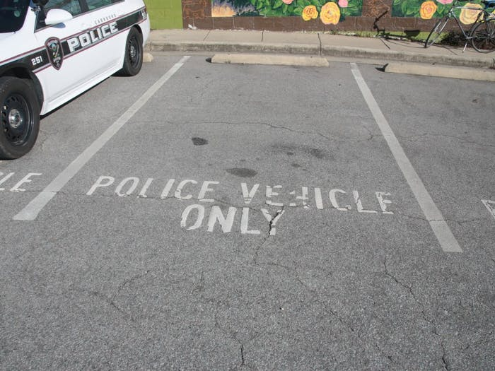 A parking spot at the Carrboro Police Department.