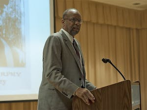 """""""I'm here because I want to continue Professor Stone's legacy, to keep this vibrant center open, and to challenge the members of the football and basketball teams to be vigilant,"""" said William Rhoden in the Stone Center for Black Culture and History Thursday night in his Diaspora lecture."""