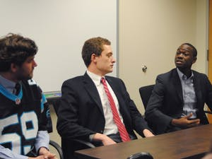 Wilson Sink (left), John Taylor (center) and Bradley Opere (right) pictured during the Daily Tar Heel's Student Body President Forum.