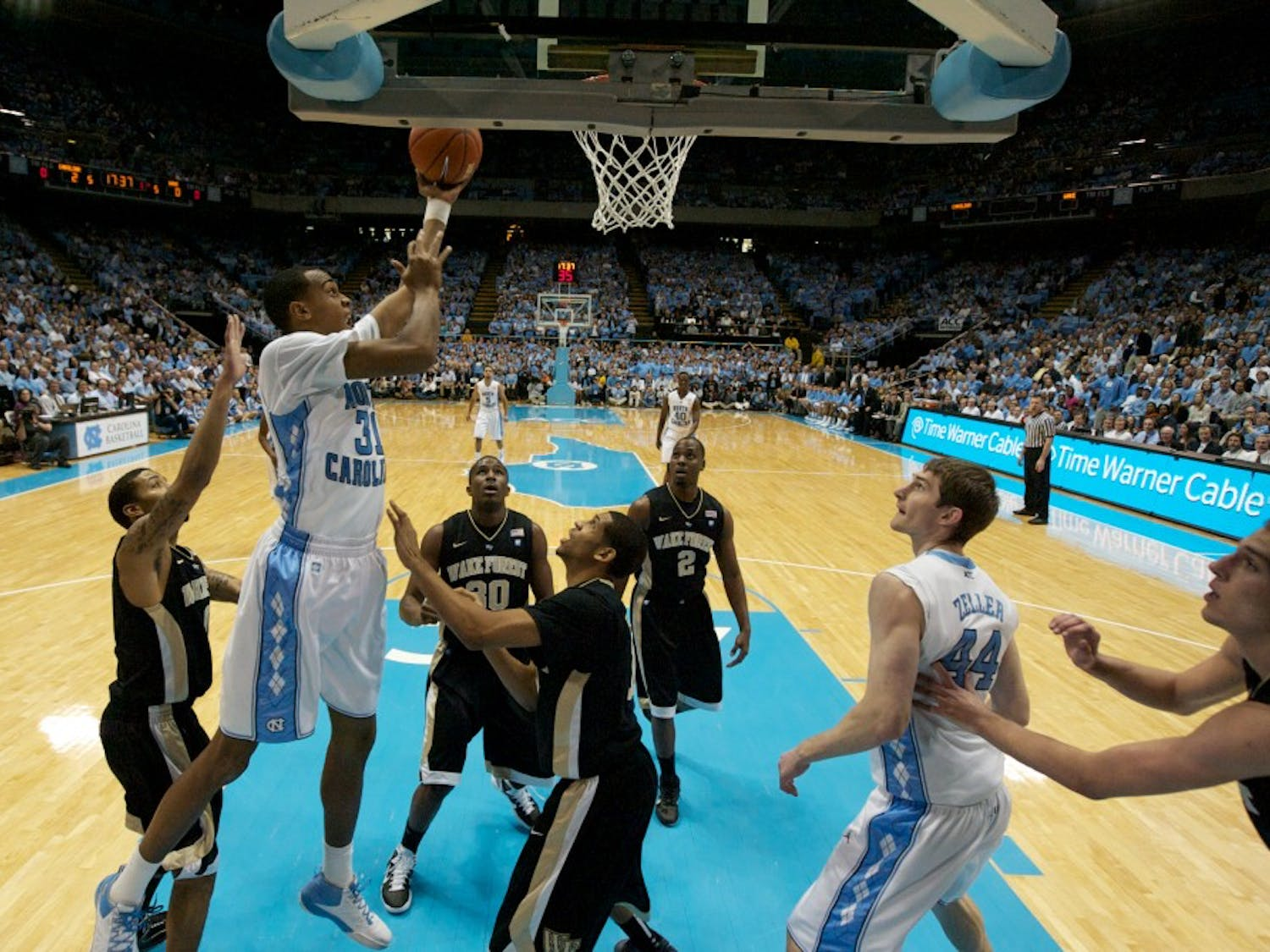 John Henson (31) goes up for a shot over the Wake Forest defense.