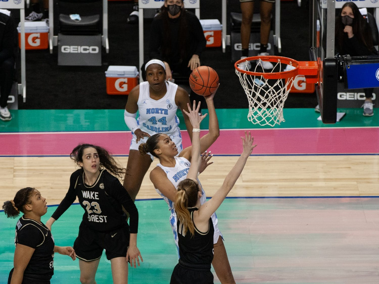 UNC graduate guard Stephanie Watts attempts a layup in Carolina's 81-71 second-round ACC tournament loss to Wake Forest University at Greensboro Coliseum on Mar. 4, 2021.