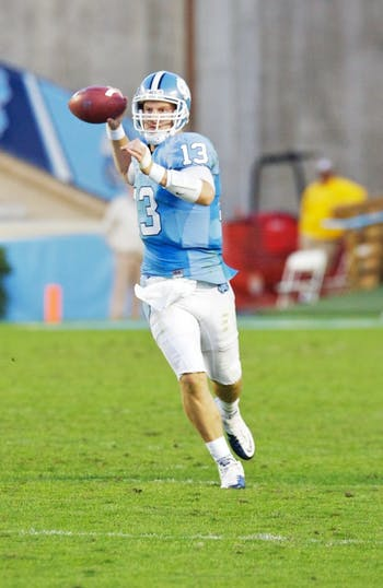 T.J. Yates passed for a UNC single-game record 439 yards against Florida State. He hooked up with Dwight Jones for 233 of those yards.