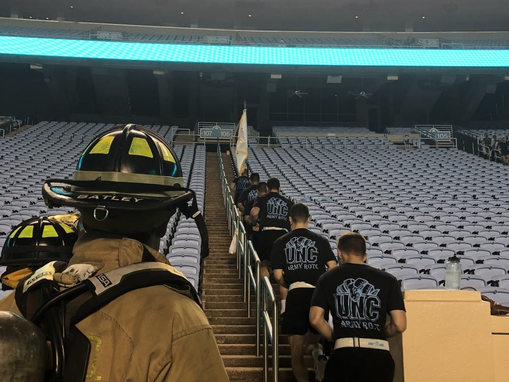 Students and community climbed 2,076 steps for 'reflection and remembrance' on 9/11