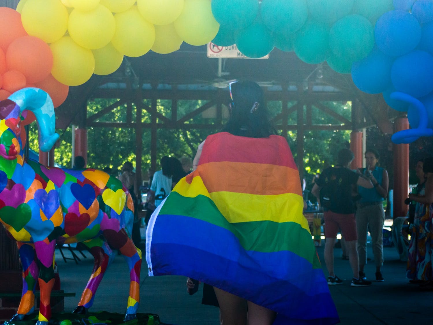 A community member wearing a rainbow flag walks through the rainbow balloon display at the Chapel Hill Carrboro Small Town Pride Food Truck Rodeo and Dance Party in Carrboro on Thursday June 24, 2021.