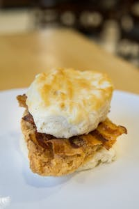 Fried chicken and bacon biscuit from Chase Dining Hall, one of two dining halls on campus. Photo taken on April 18, 2019.