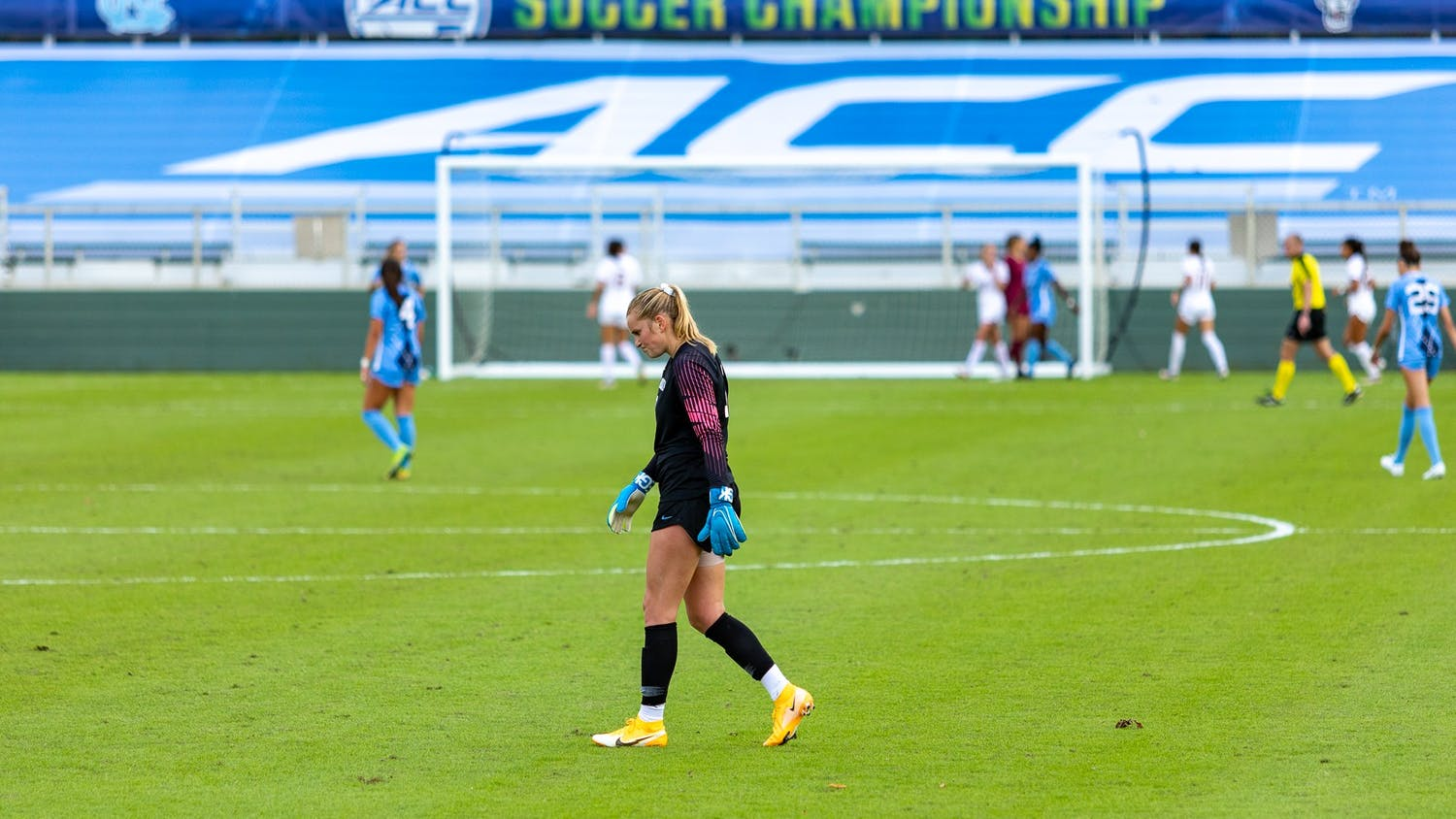 UNC junior goalkeeper Claudia Dickey (0) walks across the field in Sahlen's Stadium in Cary, N.C. on Sunday, Nov. 15, 2020. FSU beat UNC 3-2 to win the ACC championship.