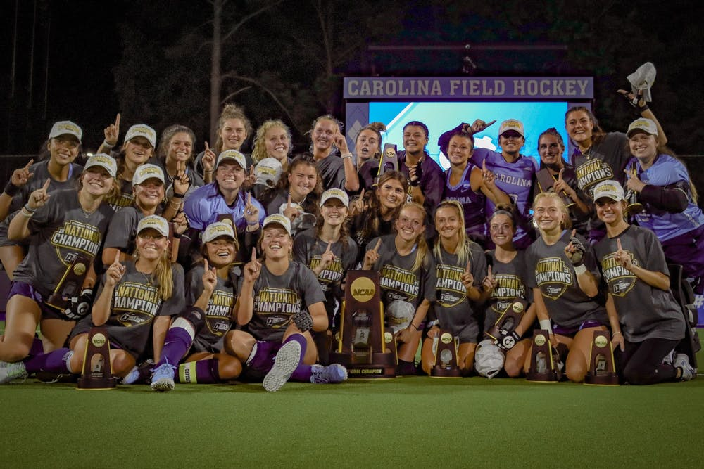 UNC field hockey won their third consecutive national championship on Sunday, May 9 in Chapel Hill. The Tar Heels triumphed over the Michigan Wolverines 4-3.