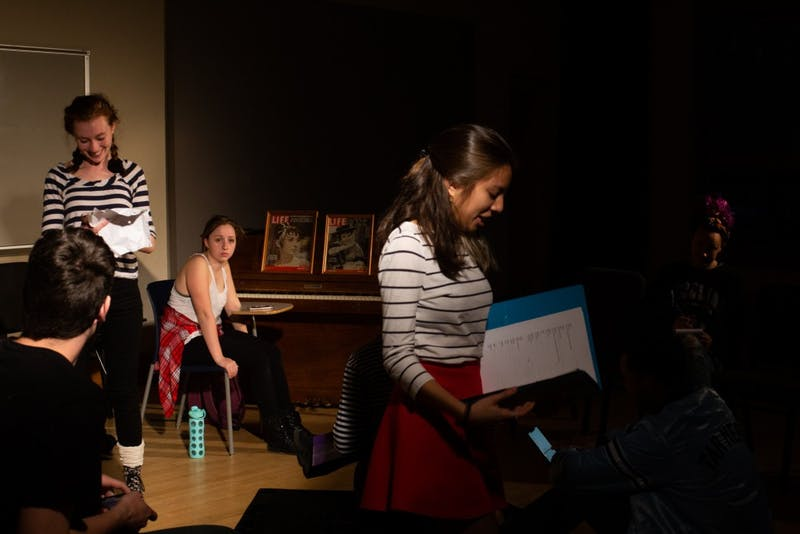 The cast and director Mckenzie Wilson (far right) rehearse for this week's preformance of Lockdown by Gage Tarlton on Tuesday, March 19, 2019.