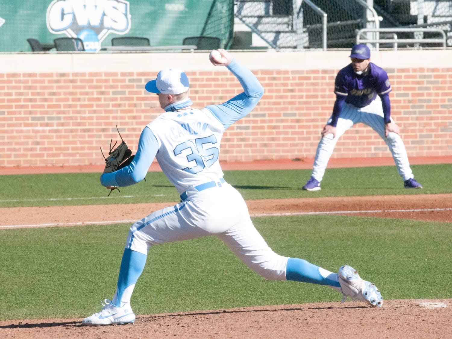 UNC first-year pitcher Max Carlson (35) delivers a pitch during UNC's 7-4 win over James Madison at Boshamer Stadium, Feb. 20, 2021.