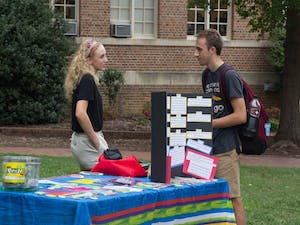 Active Minds at Carolina on Polk Place on Monday as the first mental health student organization to participate in Mental Health Mondays created by student government.