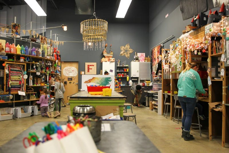 "Children and parents get creative in the ""Maker's Room"" at Kidzu Children's Museum on Sunday, Nov. 18. The museum will soon move to a new location near Southern Village in Chapel Hill, N.C."