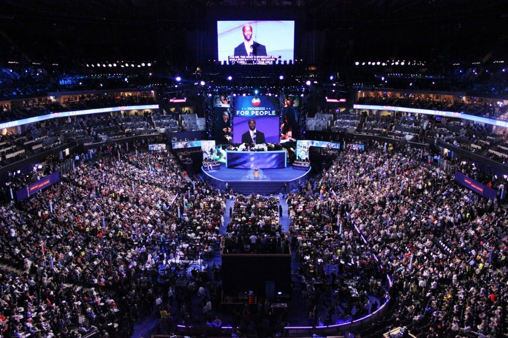 <p>The Democratic National Convention draws thousands of delegates, press, and citizens to Charlotte in Sept. 2012.</p>