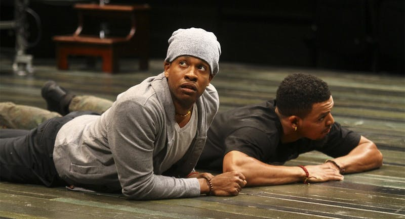 """Genesis Oliver and Myles Bullock get into character at the final dress rehearsal of Jackie Sibbles Drury's """"We Are Proud To Present"""" on Tuesday night, Feb. 23. Opening night is Wednesday, Feb. 24, at Playmaker's Repertory Company."""