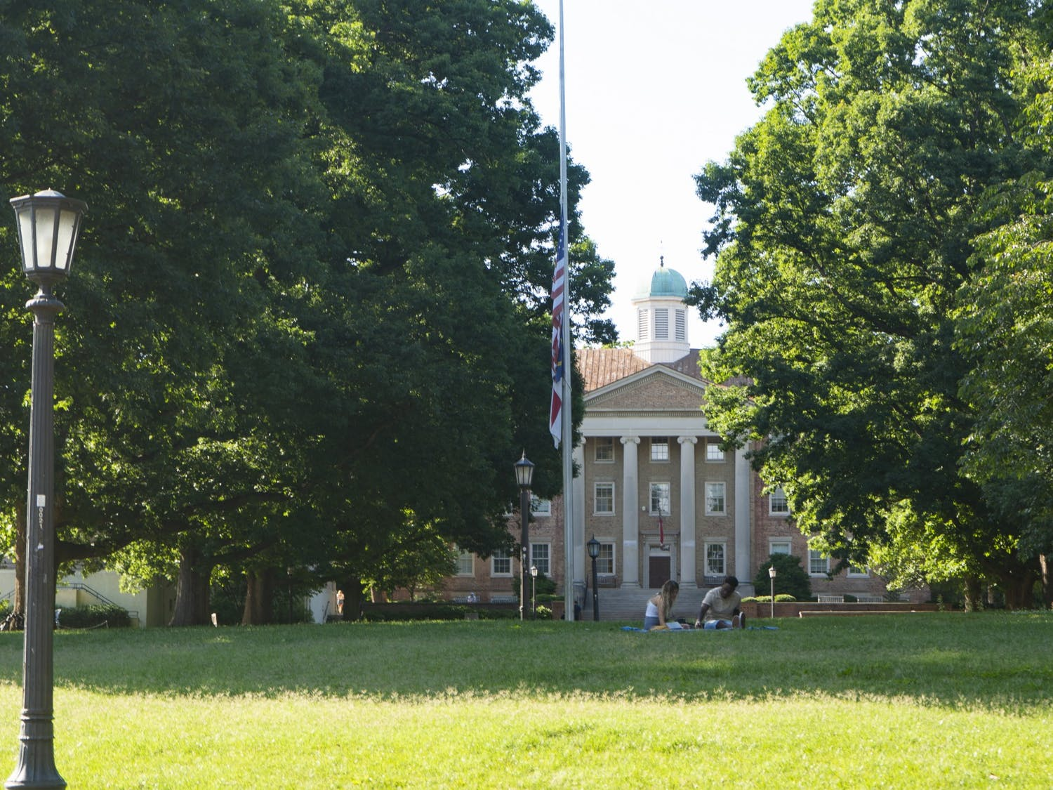 View of South Building from Polk Place, or the quad, on Sunday, June 7, 2020.