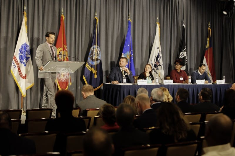 Student veterans spoke on a panel as part of the summit Monday. Photo courtesy of Josh Ellis, spokesperson for UNC system.