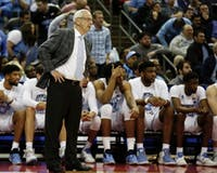 Head coach Roy Williams puts his hands on his hips during the first half of UNC's first-round NCAA Tournament game against Iona at the Nationwide Arena in Columbus, Ohio, on March 22, 2019.