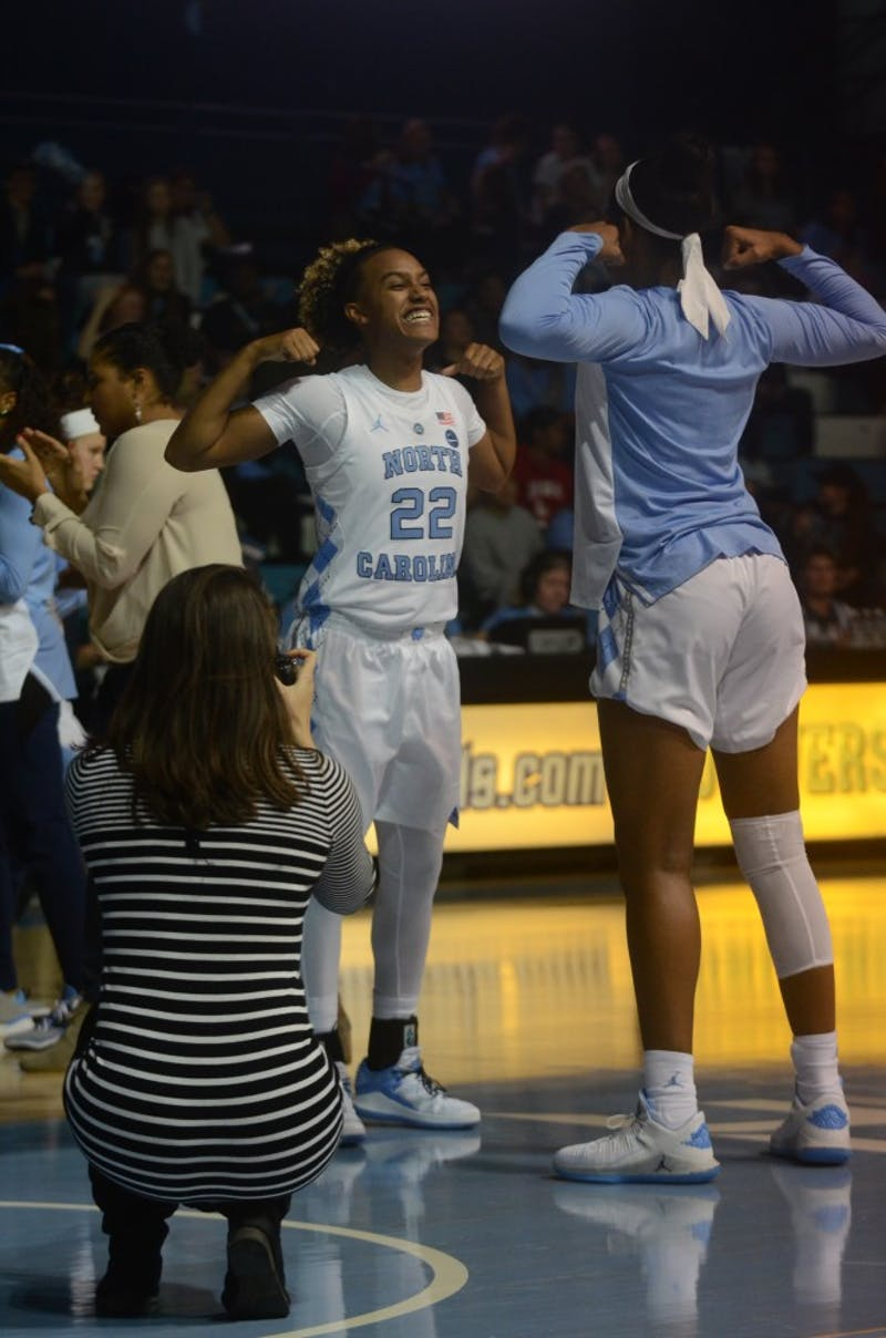 UNC women's basketball redshirt senior Paris Kea gets hype before Friday's game against Kent State. UNC won the game 73-60.