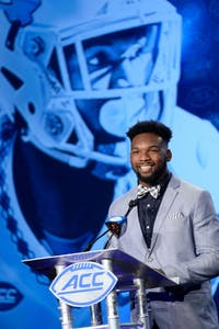 North Carolina senior cornerback M.J. Stewart addresses the media at the 2017 ACC Football Kickoff in Charlotte on Friday (Photo by Sara D. Davis, theACC.com)