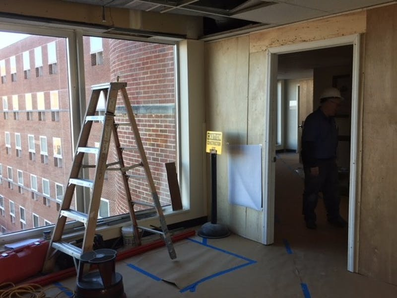 Floors 7 and 8 in Davis Library are under construction.