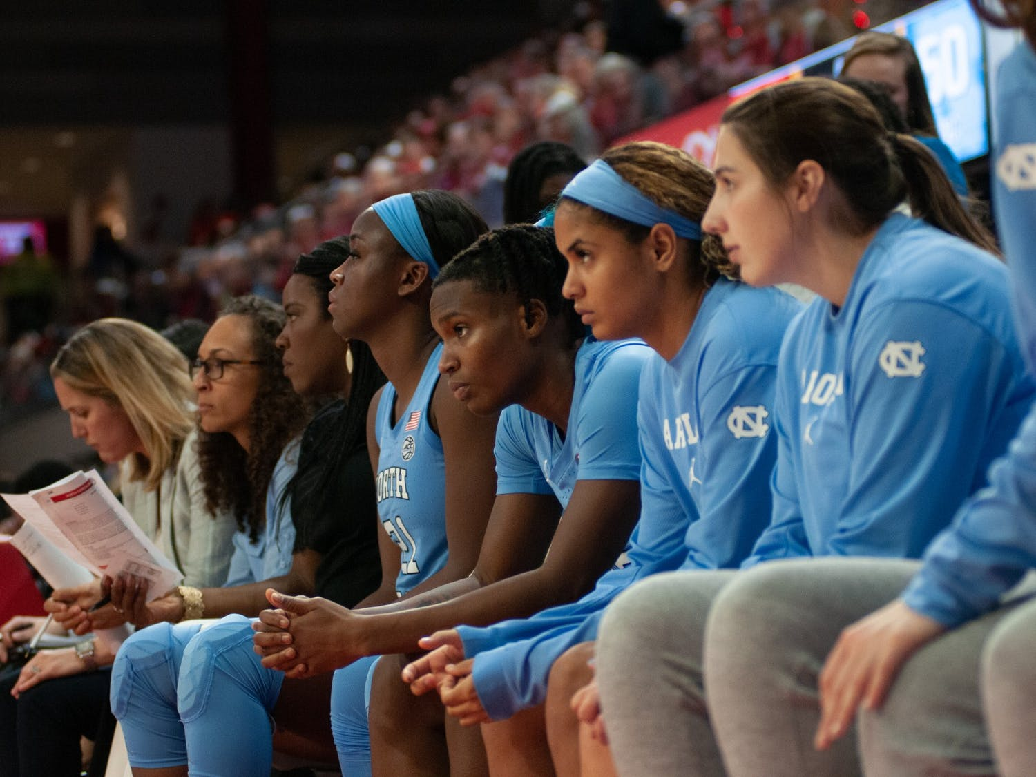 UNC players on the bench watch the game in worry at N.C. State's Reynolds Coliseum on Sunday, Jan. 26, 2020. UNC eventually lost 68-76.