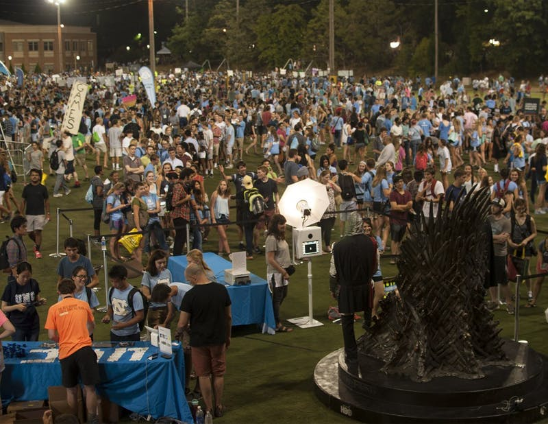 Thousands of UNC community members gathered at Hooker Field Sunday night for Fall Fest, where sponsors, local vendors and UNC organizations celebrated the beginning of the new school year.