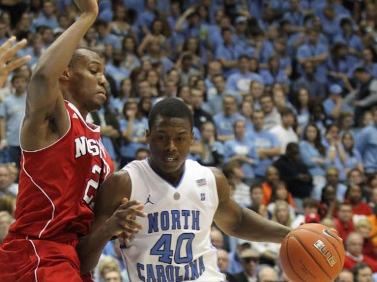 NC State tried to put pressure on forward Harrison Barnes.  Barnes persevered and remained relatively unstoppable on Saturday.
