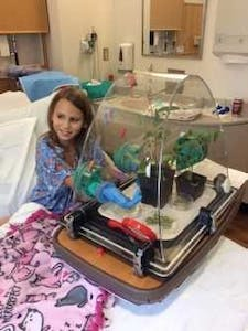 A patient at UNC Children's Hospital uses the WonderSphere. Photo courtesy of Katie Stoudemire.