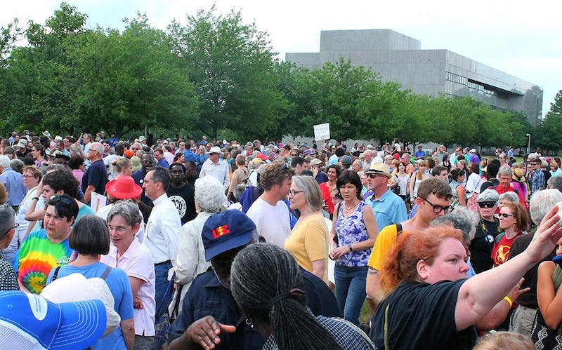"More than 1,000 people turned out at the N.C. General Assembly for the fifth ""Moral Monday"" protest earlier this week. The pre-protest rally took place in the late afternoon on the lawn behind the legislative building."