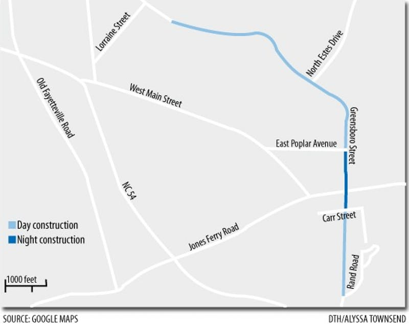 Graphic: Greensboro Street construction may cause traffic delays