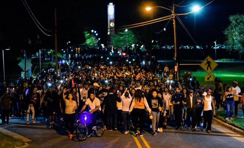 Protestors crowd the streets by North Carolina Agricultural and Technical State University in reaction to the fatal police shooting in Charlotte. Photo courtesy of Anton Sanders.