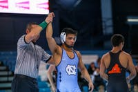 Jaime Hernandez (UNC) won a major decision over Gray Hart (UVA) during the home dual in Carmichael Arena on Saturday, January 26, 2019, helping UNC to a 22-12 victory.