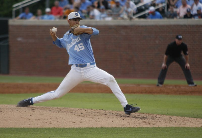 UNC baseball junior and pitcher, Austin Bergner (45), prepares to pitch the ball during the final game of the regional championship versus Tennessee on June 2, 2019. UNC won 5-2.