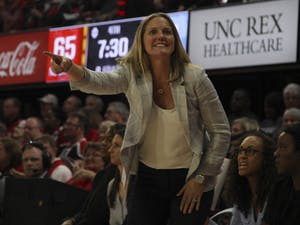 Head Coach Courtney Banghart yells at the refereee during the game against N.C. State in Reynolds Coliseum on Sunday, Jan. 26, 2020. UNC lost to N.C. State 68-76. 2
