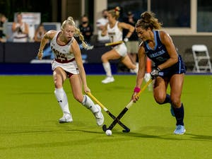 UNC redshirt junior forward Meredith Sholder (2) drives downfield in Karen Shelton Stadium Nov. 5, 2020. The Tar Heels beat the Eagles 4-0 in the first round of the ACC playoffs, securing head coach Karen Shelton's 700th win.