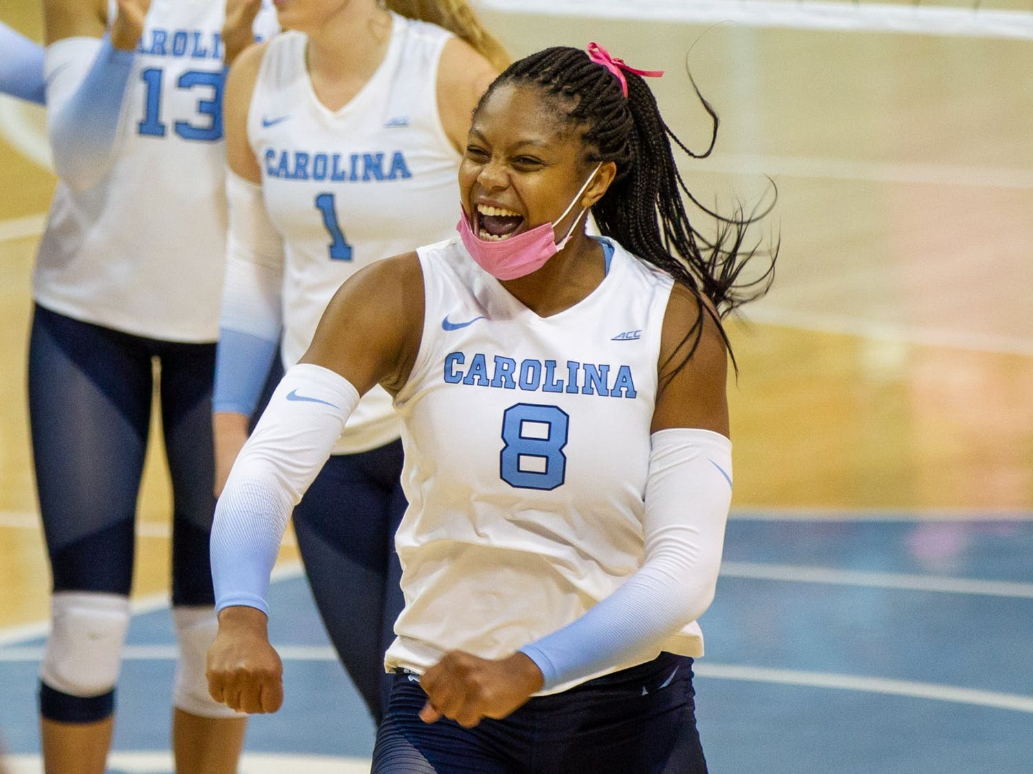 Junior middle blocker Skyy Howard (8) celebrates at the volleyball game against  Duke on Oct. 22 at Carmicahel Arena. UNC won 3-0.