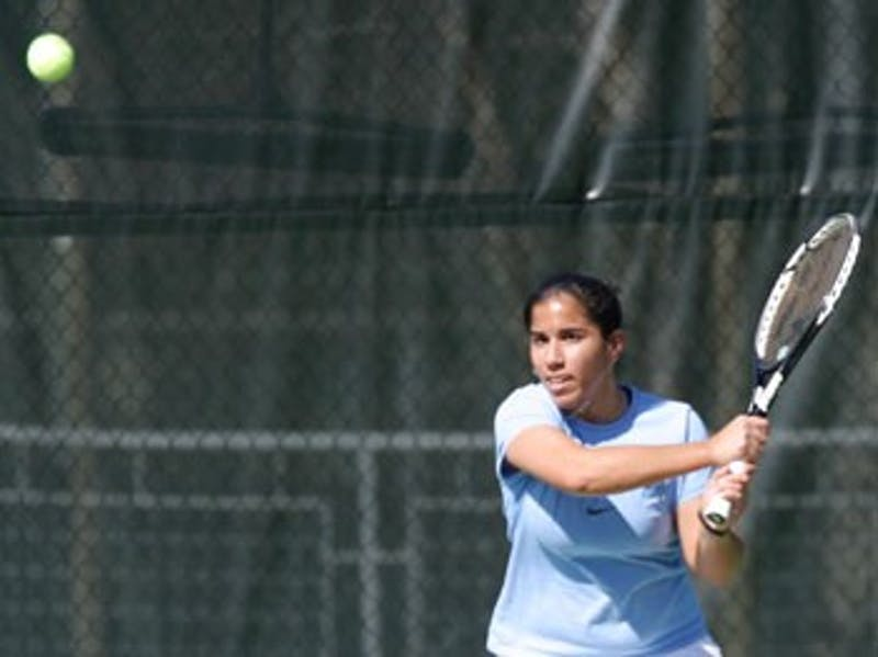 """Sanaz Marand"""" pictured last year defeated the No. 1 and No. 7 singles players in the country on consecutive days this weekend in UNC?s matchups against Georgia Tech and Clemson despite a recent slump."""