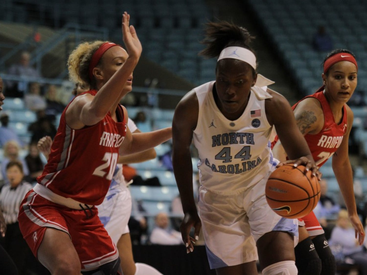 Forward Janelle Bailey (44) drives to the basket against Radford on Nov. 16 in Carmichael Arena.
