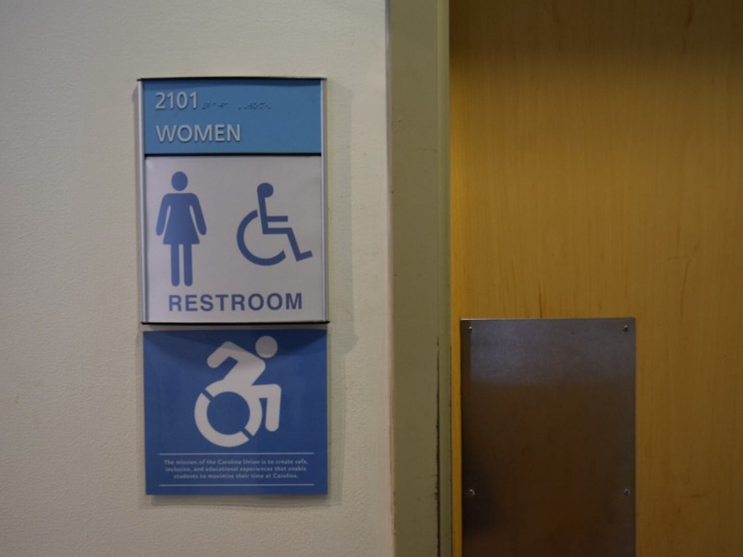 The women's bathroom in the Union on campus.