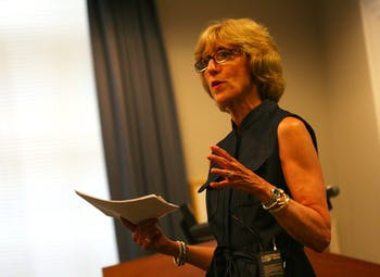 Susan King speaks during a visit to UNC. King, the final candidate to be interviewed for the position of dean of the School of Journalism and Mass Communication, visited the University for the second time on July 1.