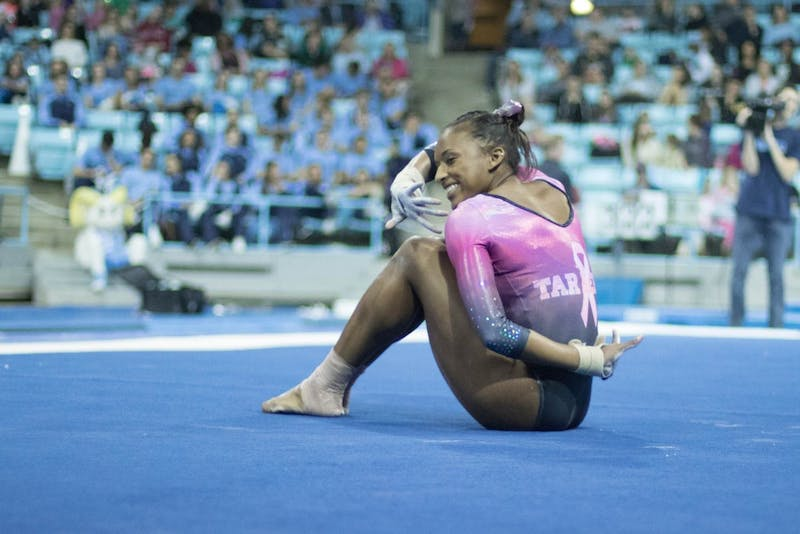 The North Carolina gymnastics team (4-1, 1-0 EAGL) placed second with a score of 195.150 against No. 1 Oklahoma (197.000) and Ball State (193.600) in the home opener in Carmichael Arena on Saturday, Jan. 19, 2019.