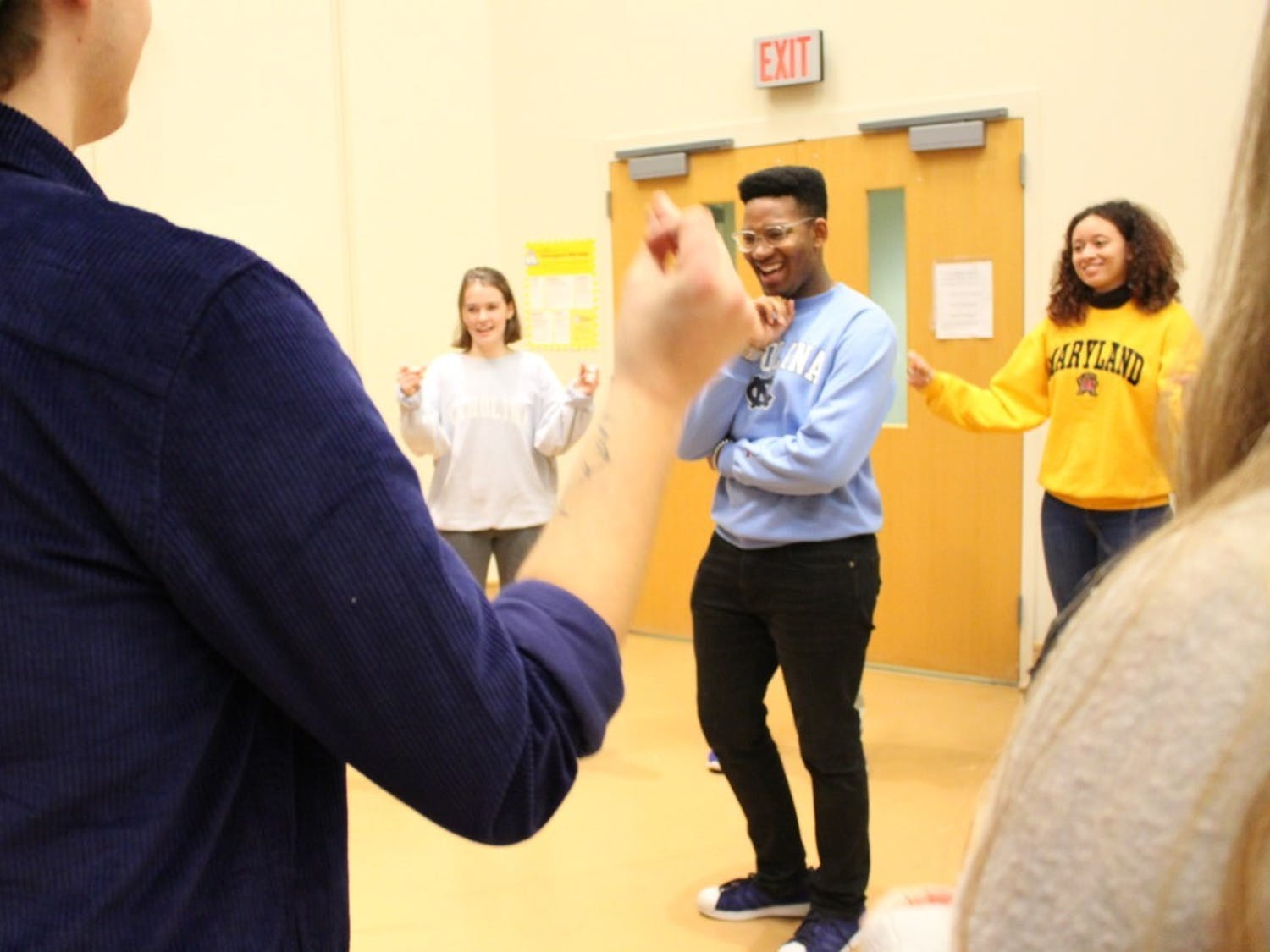Performers rehearse for this year's Me Too Monologues, opening on Jan. 23, 2020 at 7 p.m. The monologues will highlight identity and growth. Photo courtesy of David Navalinsky.