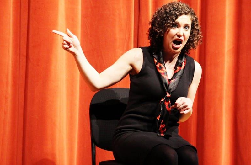 "Izzy Francke performs in a 2014 Company Carolina production of ""The Vagina Monologues."" Photo by Aisha Anwar."