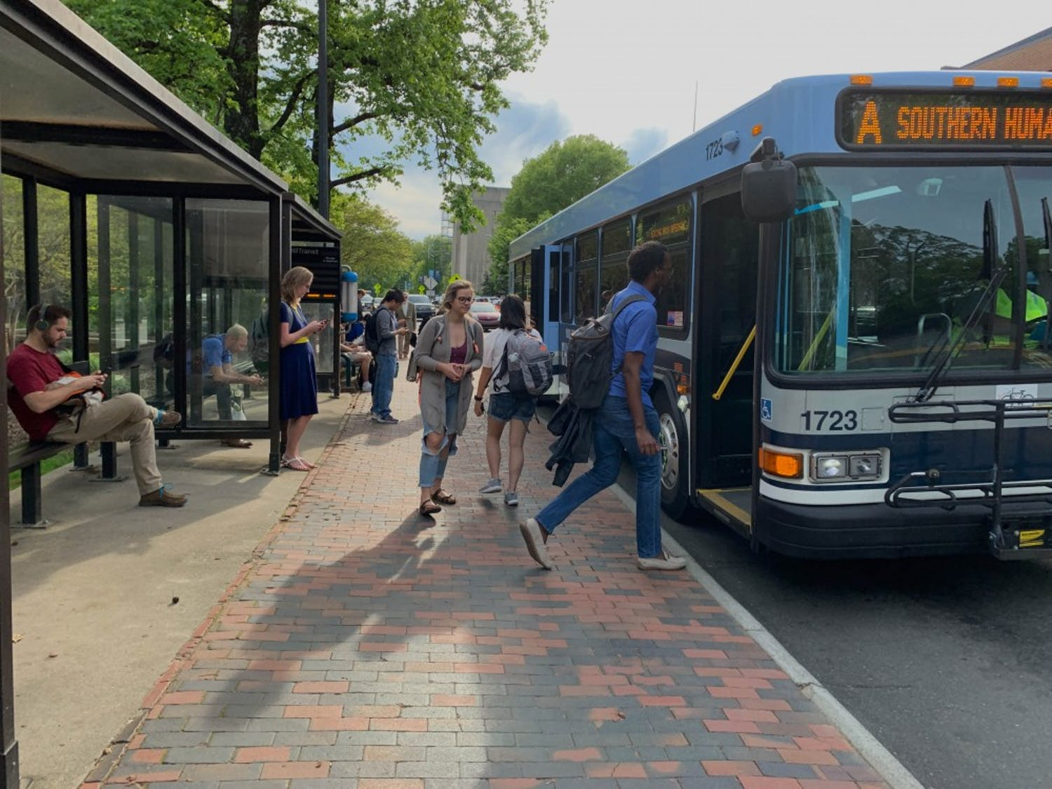 The South Road bus stop across from the Carolina Student Union services multitudes of students and Triangle residents everyday.