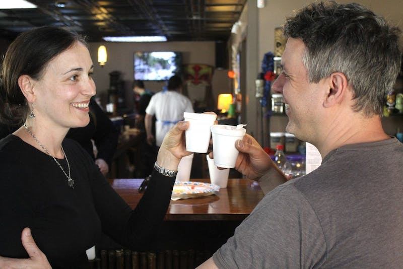 Mandi and Jamie McMenamy celebrated the anniversary of Krave Kava Bar's opening on E. Main St. in Carrboro  on Sat. April 2